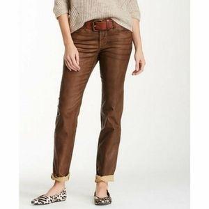 🤎NYDJ faux brown stretch leather jeans